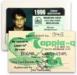 Mikael's student card and member card for Apple Brisbane Users' Group, both from the year 1996.