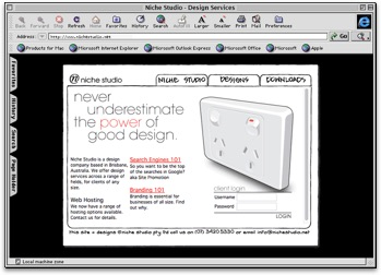 A screenshot of Internet Explorer 5 running on Mac OS 9.3 displaying the Niche Studio website from the year 2000.