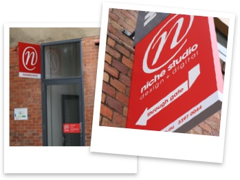 Two Polaroid-style photos of signage outside the Niche Studio office in West End.